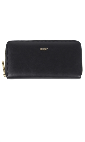 LEATHER ZIP UP WALLET-ruby-RUBY